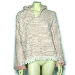 Earth Ragz Womens L Baja Hoodie Pink Fringe Bottom